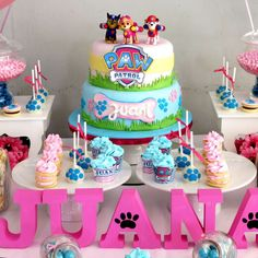 What a great cake at a Paw Patrol birthday party! See more party ideas at CatchMyParty.com!