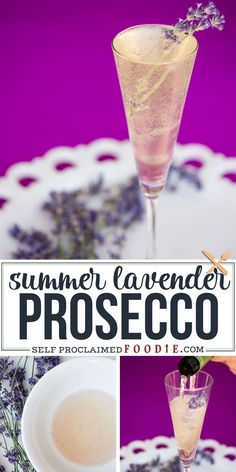 Enjoy these sunny days with a refreshing Summer Lavender Prosecco - a cocktail made with a lavender infused simple syrup and light, fruity, Italian bubbles! #cocktail #summer #lavender #prosecco #easy #recipe Cocktail And Mocktail, Prosecco Cocktails, Cocktail Recipes, Drink Recipes, Sangria, Party Drinks, Fun Drinks, Drinks Alcohol, Mixed Drinks