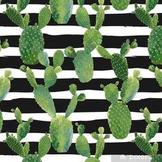 Papel Pintado Estándar Patrón sin fisuras de la planta de cactus. Fondo botánico verano tropical exótico en vector. - Plantas y flores Cactus Planta, Plant Leaves, Wallpaper, Plants, Wall Papers, Paper Envelopes, Patrones, Flowers, Tiny Houses