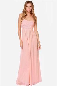 Pink Strapless Backless Maxi Dress