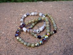 Bohemian Beaded Bracelet Set // Green and Purple Iridescence by SuDanDesign on Etsy