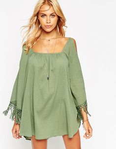 160c81f327 ASOS Cold Shoulder Fringed Beach Cover Up Asos