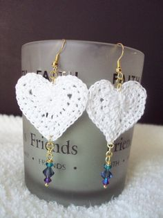 Valentines Day White Heart Lace & Swarovski Crystal by mamabecca73, $14.99