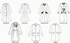 Types of coats. Costume Halloween, Vintage Patterns, Sewing Patterns, Modele Hijab, Types Of Coats, Flat Sketches, Fashion Terms, Modelista, Fashion Vocabulary