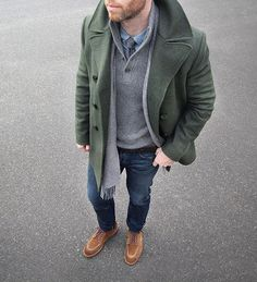 Layered and happy #winter Peacoat: @clubmonaco Sweater/Shirt/Belt…