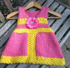 V-Neck Jumper Dress Knitting Pattern in Bulky Yarn Child 1 to  6 years old