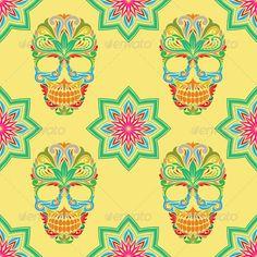 Skull and Lotus Pattern