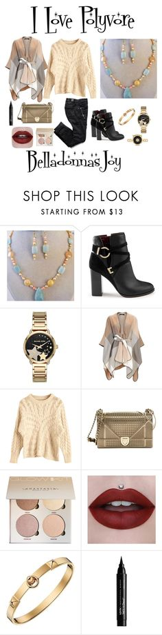 """""""Amazonite Pendant Necklace & Earrings"""" by bamasbabes ❤ liked on Polyvore featuring Miss Selfridge, Michael Kors, Christian Dior, Hermès, NYX and Gucci"""
