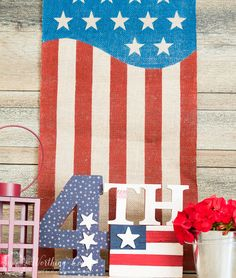 Patriotic Craft For Memorial Day, Flag Day And July - Worthing Court Patriotic Crafts, Patriotic Decorations, Patriotic Wreath, Memorial Day Flag, Summer Centerpieces, Flag Painting, Blue Crafts, And July, Summer Diy