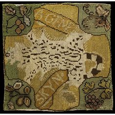 This fragment of an embroidered panel depicts the skin of a 'genet' a type of civet cat. It is part of a collection of needlework known as the Oxburgh hangings. They were made between 1570 and about 1585, the work of Mary Queen of Scots during her imprisonment in England and Elizabeth (Bess) Talbot, Countess of Shrewsbury. Bess's husband George Talbot, Earl of Shrewsbury was responsible for Mary and she stayed at one or other of the Shrewsbury estates.