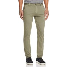 Blank Cotton Twill Slim Fit Chinos ($88) ❤ liked on Polyvore featuring men's fashion, men's clothing, men's pants, men's casual pants, ranger, mens slim fit pants, mens chino pants, mens slim pants, mens slim fit chino pants and men's 5 pocket pants