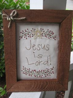 Jesus is Lord framed design by candiescountrycrafts on Etsy, $10.00