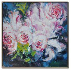 EN STOCK 48 x 48 flor pintura al óleo sobre por CelineZiangArt