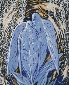 René Magritte (1898-1967), 1948, La Nuit d'Amour (The Night of Love), Gouache, Gold Paint and Watercolor on Paper, 45 by 36 cm, Private collection. #Birds