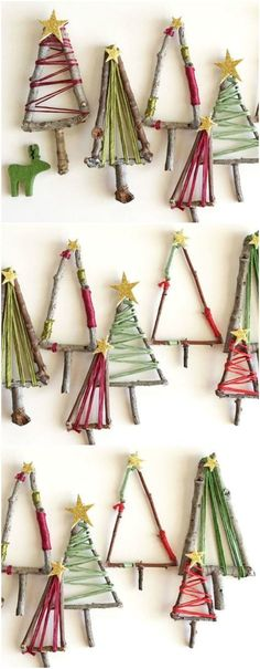 the kids will love making these natural twig christmas trees that can be hung up as decorations placed around your festive table or added to presents under