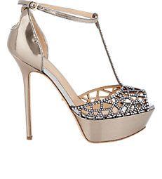 Embellished Tresor T-Strap Platform Sandals
