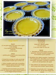 Tat telur Donut Recipes, Tart Recipes, Cookie Recipes, Snack Recipes, Dessert Cake Recipes, Pie Dessert, Resep Cake, Cookie Cake Pie, Egg Tart