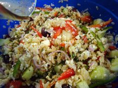 Orzo, feta, and cucumber.  This looks amazing and has some of my favorite things!
