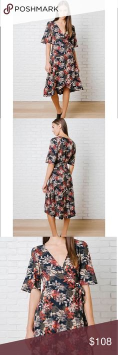 "🆕The Dawson floral wrap dress ❤ A sophisticated style for your wardrobe. This navy-hued frock is patterned w/a floral design in cream, red,brown hues, & has a V-cut neckline for a flirty hint of skin.Its flowy sleeves add a playful vibe, & it features an adjustable tie @ the waist for the perfect fit. It is finished w/a slightly asymmetrical hemline.100% Rayon Measurements 36"" bust 39"" from top of shoulder (to shortest point) 45"" from top of shoulder (to longest point) Model Stats Height…"