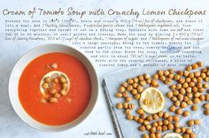 Cream of Tomato Soup with Crunchy Lemon Chickpeas. Recipe adapted from #RachelKhoo #rkkitchennotebook