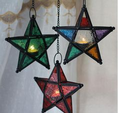 Multi color glass and metal star lanterns Indoor Tabletop Water Fountain, Indoor Water Fountains, Cheap Candle Holders, Wrought Iron Candle Holders, Moroccan Colors, Moroccan Style, Hanging Stained Glass, Star Candle, Candle Lamp