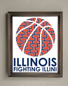 This colorful University of Illinois Fighting Illini Basketball print is an original pattern, designed with the West Virginia Mountaineer colors and symbols in mind. This print come in a variety of sizes (please see drop down menu on the right). This print can come with or without the words, Illinois Fighting Illini (please see drop down menu on the right). This unique Illinois Fighting Illini Basketball print looks great by itself, or on a gallery wall with other prints. It would be a pe...