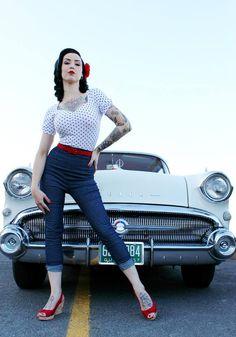 Hot Rod Rockabilly Retro Vintage Pin Up Classic Car Rockabilly Dress, Looks Rockabilly, Rockabilly Moda, Rockabilly Fashion, Retro Fashion, Vintage Fashion, Rockabilly Girls, Man Fashion, Winter Fashion