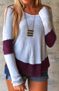 Two toned thermal top fashion