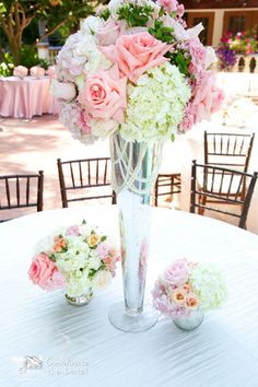 Tall white and pink floral centerpiece with pearls. Coordinate the Date! - Wedding Planner - Lake Forest - Wedding.com