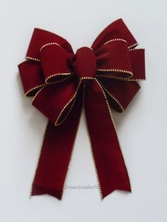 Burgundy Red Gold Christmas Bow In / Outdoor by greentraderllc, $10.00