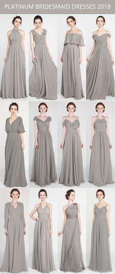 platinum bridesmaid dresses for 2018 #bridesmaiddress #bridalparty #weddingcolor #weddingtrends
