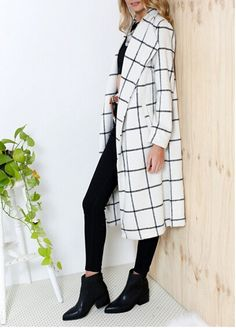 White Plaid Print Long Sleeve Turndown Collar Fashion Wool Coat - Outerwears - Tops