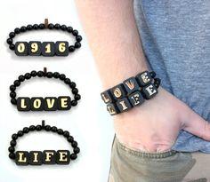 GoodWoodNYC - 4 Letter Alphanumeric Bracelets - Gold Series, $22.00 #woodenbracelet #woodbracelet #goodwoodnyc #Woodjewelry #beadedbracelet