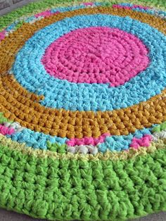 Antique crochet rag rug