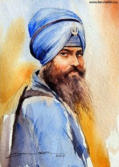 Beautiful Art Work depicting the 'Portrait of Sikh Warrior'- Nihang