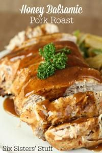 Six Sisters Slow Cooker Honey Balsamic Pork Roast Recipe. Just throw it in the slow cooker and a delicious pork roast for dinner!