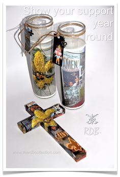 theRDBcollection's New Orleans Saints candles & cross   Photos by Renee Dent Blankenship