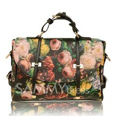 $13.23 British Style Vintage Casual Women's Tote Bag With Floral Print Buckle and Oil Painting Design