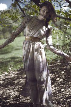 Sheer Summer Dress, Bohemian Dress, Long Flowy Dress, Batik Dress, Open Back Dress, Beautiful Light, Magical Woods, Design by Ellen Aga, Photo by Lars Venner, Model: Charlotte Thorstvedt