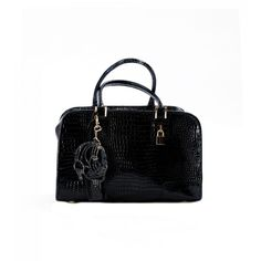 PAOLO IANTORNO FIDI Top Handle Handbag ($349) ❤ liked on Polyvore featuring bags, handbags, patent black croco, black crocodile purse, patent leather purse, cell phone purse, top handle bag and black handbags