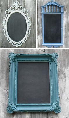 Turn cheap vintage looking picture frames into the borders of chalkboard to hang around the house and write memos on.