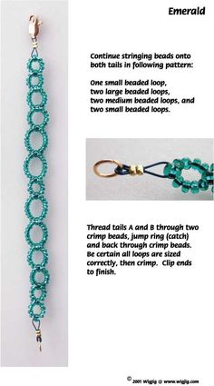 Emerald Beads Bracelet made with WigJig jewelry making tools, wire and jewelry supplies.