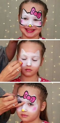 'Hello Kitty' Makeup for Kids DIY Summer Activities for Kids Art Simple Face Painting Ideas for Kids Hello Kitty Face Paint, Hello Kitty Makeup, Facial Painting, Body Painting, Face Painting For Kids, Simple Face Painting, Kids Face Paints, Painting Art, Face Painting Tutorials