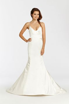 Ivory Charmeuse modified A-line bridal gown with a detachable embroidered net wrap dress. Bridal Gowns, Wedding Dresses from Ti Adora by Alvina Valenta - JLM Couture - Bridal Style 7512 by JLM Couture, Inc.