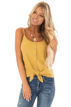 e90b405866352 Lime Lush Boutique - Mustard Ribbed Tank Top with Front Tie