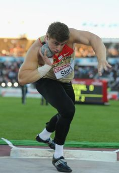 HELSINKI, FINLAND - JUNE 29: David Storl of Germany in action on his way to victory in the Men's Shot Put Final during day three of the 21st European Athletics Championships at the Olympic Stadium on June 29, 2012 in Helsinki, Finland. (Photo by Ian Walton/Getty Images)