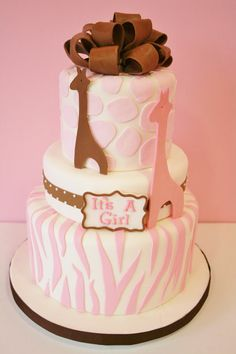 Baby Shower Custom Cakes - Pink Animal Print Custom Cakes Gonna have to be blue for baby Hank! Baby Shower Giraffe, Baby Shower Cakes, Giraffe Cakes, Pink Giraffe, Pink Dessert Tables, Jungle Cake, Safari, Pink Animals, Girl Cakes