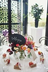 colorful centerpieces with chalkboard table numbers written out // photo by SergioMottola.com // styled by Georgeous.com.au