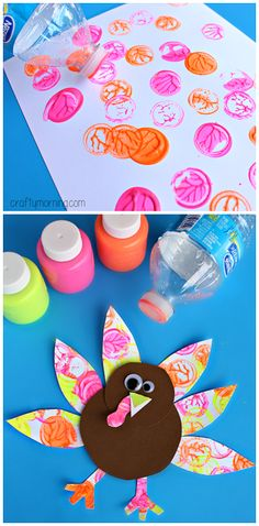 Neon Turkey Craft #Thanksgiving craft for kids #Bottle cap stamping | CraftyMorning.com