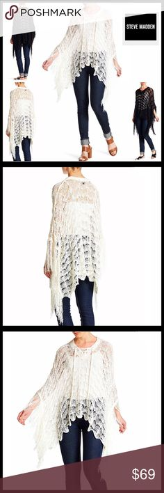 """⭐️⭐️ STEVE MADDEN PULLOVER Topper Cardi * NEW WITH TAGS * SIZING- Tagged OS, fits approx sizes 2-16, S-XL STEVE MADDEN PULLOVER Poncho Cardi  * Relaxed Silhouette; Approx 28""""-34"""" long  * Allover beautiful crochet construction  * Tassel fringe hem detail, approx 7"""" long  * V-neck & lace-up neck  * Pullover style  * Super soft & lightweight for layering  Fabric: 100% Acrylic  Color- Ivory Item# SEARCH# loose knit oversized duster cable knit 🚫No Trades🚫 ✅ Offers Considered*✅ *Please use the…"""